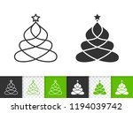 christmas tree black linear and ... | Shutterstock .eps vector #1194039742