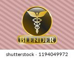 gold badge with caduceus... | Shutterstock .eps vector #1194049972