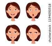 girl emotions set. flat cartoon ...   Shutterstock .eps vector #1194050518