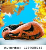 rotten pumpkin after the... | Shutterstock . vector #1194055168