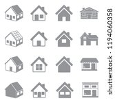 house icons. gray flat design.... | Shutterstock .eps vector #1194060358
