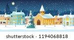 snowy night in cozy town city...   Shutterstock .eps vector #1194068818