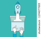 startup   line design. rocket...   Shutterstock .eps vector #1194077005