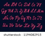 red neon script. uppercase and... | Shutterstock .eps vector #1194082915