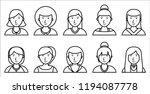 set of women outline icons on... | Shutterstock .eps vector #1194087778