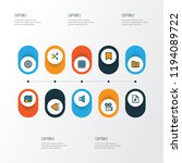 multimedia icons colored line...   Shutterstock .eps vector #1194089722