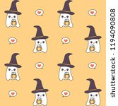 cute cartoon ghosts with... | Shutterstock .eps vector #1194090808
