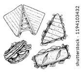 hand drawn sketch sanwiches set.... | Shutterstock .eps vector #1194103432