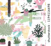 seamless pattern with cactuses  ... | Shutterstock .eps vector #1194116698