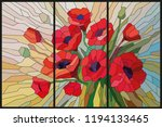 stained glass scarlet poppies...   Shutterstock .eps vector #1194133465
