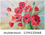 stained glass scarlet poppies...   Shutterstock .eps vector #1194133468