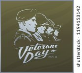 Veterans Day. Khaki Green...
