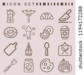 simple set of  16 outline icons ... | Shutterstock .eps vector #1194172288