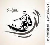 surf rider symbol  print... | Shutterstock .eps vector #1194186775