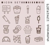 simple set of  16 outline icons ... | Shutterstock .eps vector #1194191875