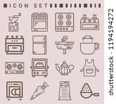 simple set of  16 outline icons ... | Shutterstock .eps vector #1194194272