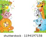 Stock vector cartoon animals in multi colored balloons against blue sky vector illustration festive background 1194197158
