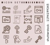 simple set of  16 outline icons ... | Shutterstock .eps vector #1194199345