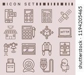 simple set of  16 outline icons ...   Shutterstock . vector #1194205465