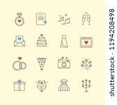 outline love and wedding thin...   Shutterstock .eps vector #1194208498