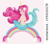 cute little mermaid on rainbow...   Shutterstock .eps vector #1194210178