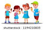 group of boys and girls eating... | Shutterstock .eps vector #1194210835