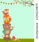 cute woodland cartoon animals... | Shutterstock .eps vector #1194215875