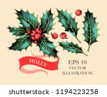 vector set of holly leaves and... | Shutterstock .eps vector #1194223258