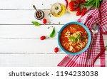 minestrone  italian vegetable... | Shutterstock . vector #1194233038