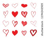 heart hand drawn icons set... | Shutterstock .eps vector #1194243505