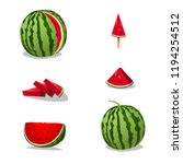 watermelon illustrations set   Shutterstock .eps vector #1194254512