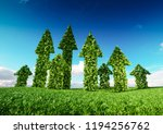 Sustaining eco growth and sustainable development concept. 3d illustration of green leaf arrows growing from fresh grass field and pointing upward to blue sky.