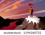 hiker on top mountain with flag ...   Shutterstock .eps vector #1194260722