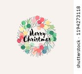 christmas wreath with pastel... | Shutterstock .eps vector #1194273118