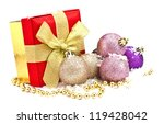 festive gift box with bow and... | Shutterstock . vector #119428042