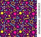 memphis vector seamless pattern ... | Shutterstock .eps vector #1194281815