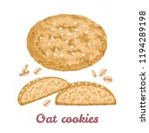 oat cookies whole and halves... | Shutterstock .eps vector #1194289198