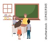 teacher in the classroom with... | Shutterstock .eps vector #1194319345