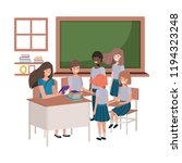 female teacher in the classroom ... | Shutterstock .eps vector #1194323248