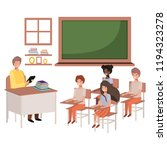 teacher in the classroom with... | Shutterstock .eps vector #1194323278