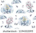 Stock photo watercolor pattern trees and bushes in the snow with hares and bullfinches on a white background 1194332095