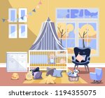 newborn kid nursery room... | Shutterstock .eps vector #1194355075