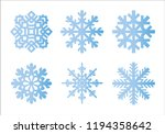 snowflake winter set of blue...   Shutterstock .eps vector #1194358642