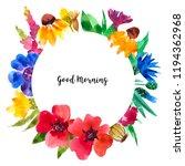 watercolor wildflowers frame | Shutterstock . vector #1194362968