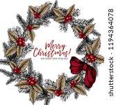hand drawn christmas wreath....   Shutterstock .eps vector #1194364078