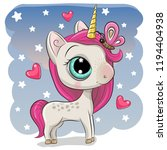 cute cartoon unicorn with... | Shutterstock .eps vector #1194404938
