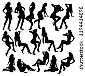 set of vector silhouettes of...   Shutterstock .eps vector #1194414898
