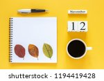autumn composition. wooden... | Shutterstock . vector #1194419428