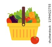 shopping basket with fresh... | Shutterstock .eps vector #1194422755