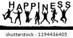 happy people jumping  hold the... | Shutterstock .eps vector #1194436405